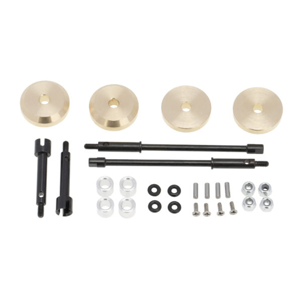 Axial SCX24 4mm Brass Wheel Counterweight with Widen Axles 4pcs/set Image 1